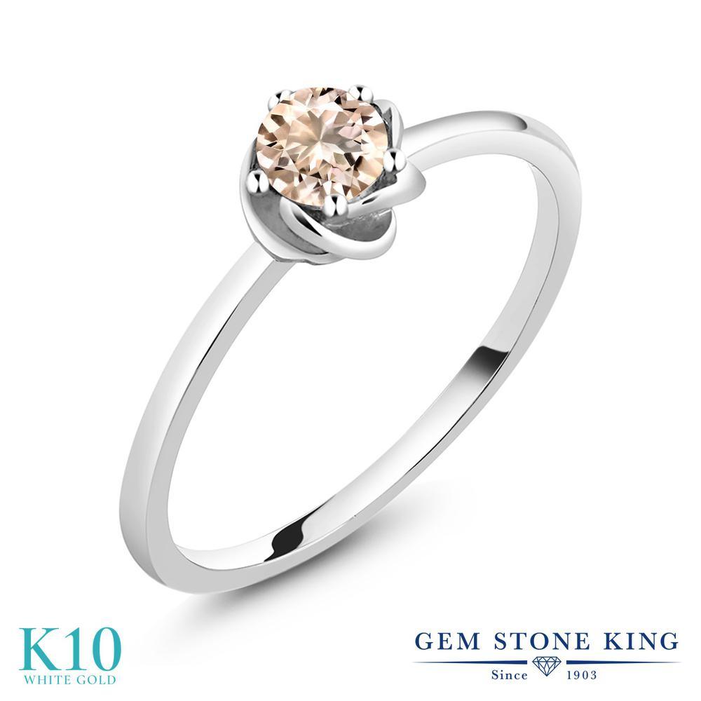 Gem Stone King 0.4カラット 天然 モルガナイト (ピーチ) 10金 ホワイトゴールド(K10) 指輪 リング レディース 小粒 一粒 シンプル ソリティア 天然石 誕生石 金属アレルギー対応 誕生日プレゼント