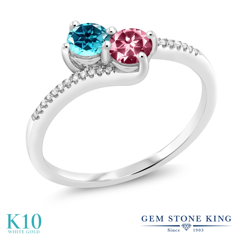 Gem Stone King 0.77カラット 天然石 パライバトパーズ (スワロフスキー 天然石シリーズ) 天然石 ピンクトパーズ (スワロフスキー 天然石シリーズ) 天然 ダイヤモンド 10金 ホワイトゴールド(K10) 指輪 リング レディース 小粒 ダブルストーン 天然石 金属アレルギー対応