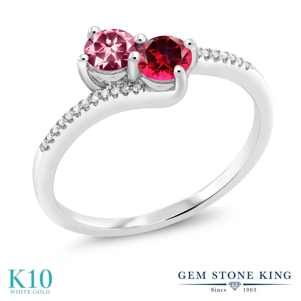 Gem Stone King 0.77カラット 天然石 ピンクトパーズ (スワロフスキー 天然石シリーズ) 天然石 レッドトパーズ (スワロフスキー 天然石シリーズ) 天然 ダイヤモンド 10金 ホワイトゴールド(K10) 指輪 リング レディース 小粒 ダブルストーン 天然石 金属アレルギー対応