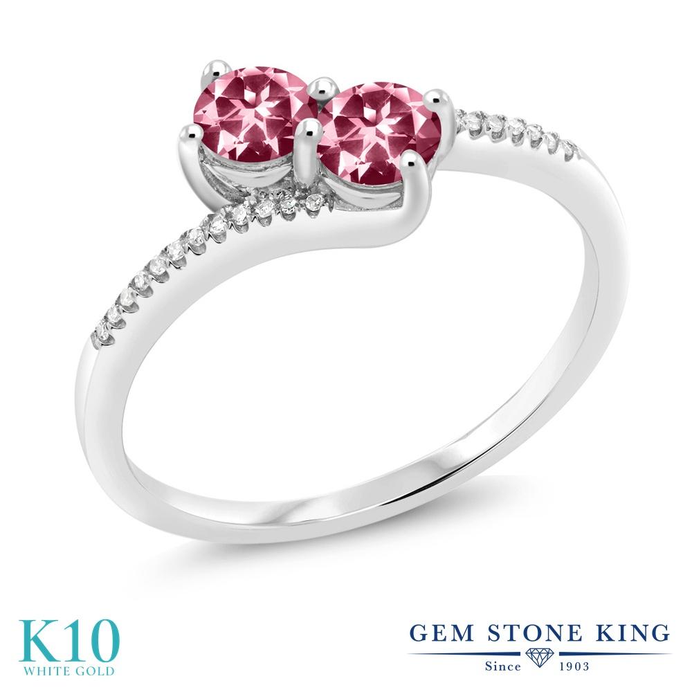 Gem Stone King 0.77カラット 天然石 ピンクトパーズ (スワロフスキー 天然石シリーズ) 天然 ダイヤモンド 10金 ホワイトゴールド(K10) 指輪 リング レディース 小粒 ダブルストーン 天然石 金属アレルギー対応 誕生日プレゼント