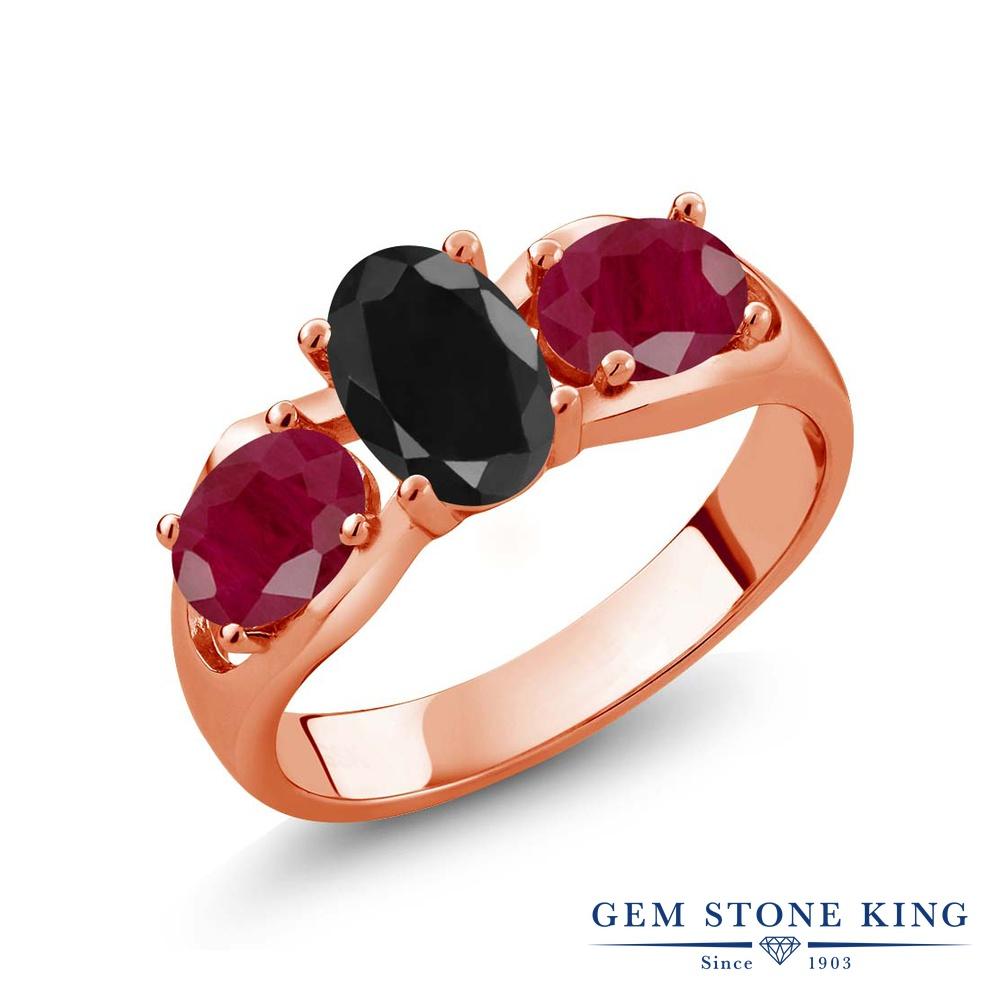 Gem Stone King 2.27カラット 天然 ブラックサファイア 天然 ルビー シルバー925 ピンクゴールドコーティング 指輪 リング レディース 大粒 シンプル スリーストーン 天然石 9月 誕生石 金属アレルギー対応 誕生日プレゼント