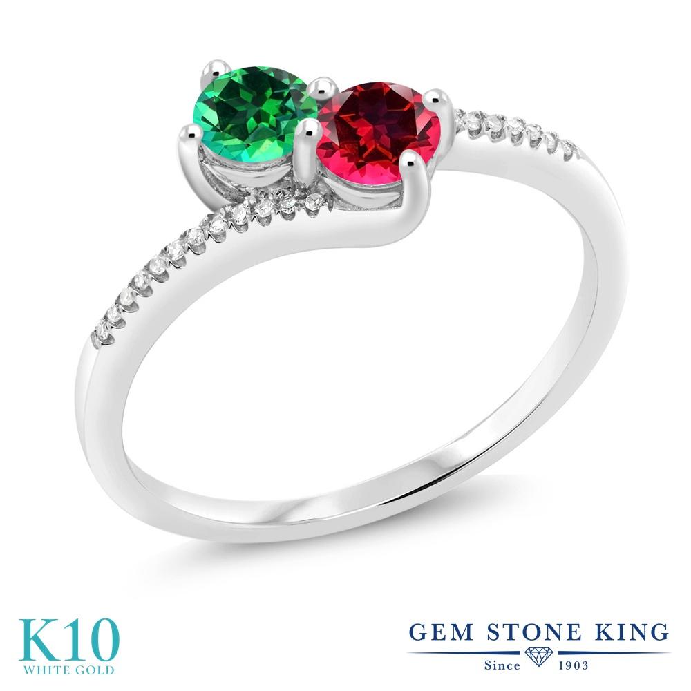 0.77カラット 天然石 トパーズ レインフォレスト (スワロフスキー 天然石) 指輪 レディース リング レッドトパーズ 天然 ダイヤモンド 10金 ホワイトゴールド K10 ブランド おしゃれ 2連 緑 小粒 ダブルストーン