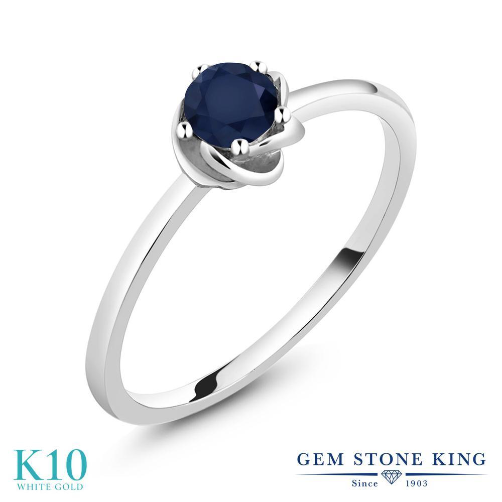 【10%OFF】 Gem Stone King 0.6カラット 天然 サファイア 指輪 リング レディース 10金 ホワイトゴールド K10 一粒 シンプル ソリティア 天然石 9月 誕生石 クリスマスプレゼント 女性 彼女 妻 誕生日