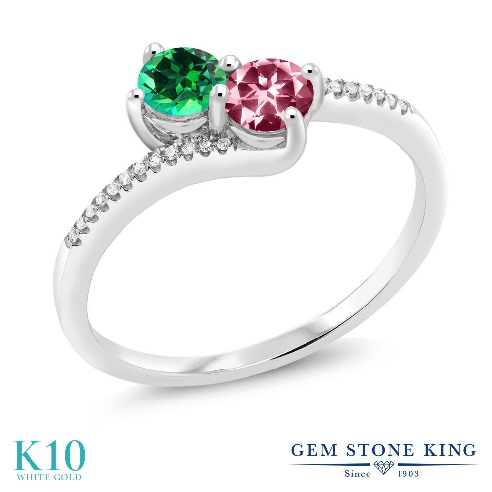 Gem Stone King 0.77カラット 天然石 トパーズ レインフォレスト (スワロフスキー 天然石シリーズ) 天然石 ピンクトパーズ (スワロフスキー 天然石シリーズ) 天然 ダイヤモンド 10金 ホワイトゴールド(K10) 指輪 リング レディース 小粒 ダブルストーン 天然石