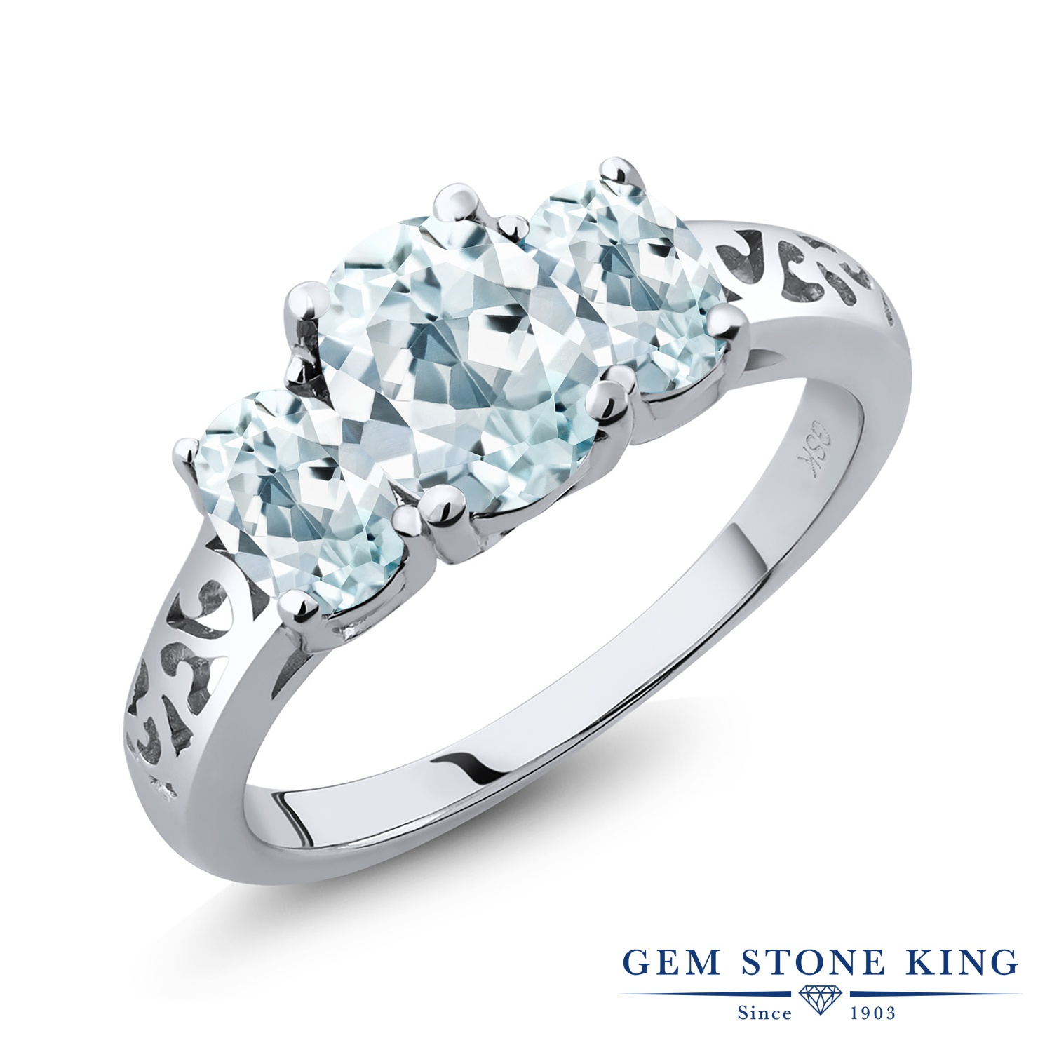 【10%OFF】 Gem Stone King 1.96カラット 天然 アクアマリン 指輪 リング レディース シルバー925 大粒 シンプル スリーストーン 天然石 3月 誕生石 クリスマスプレゼント 女性 彼女 妻 誕生日
