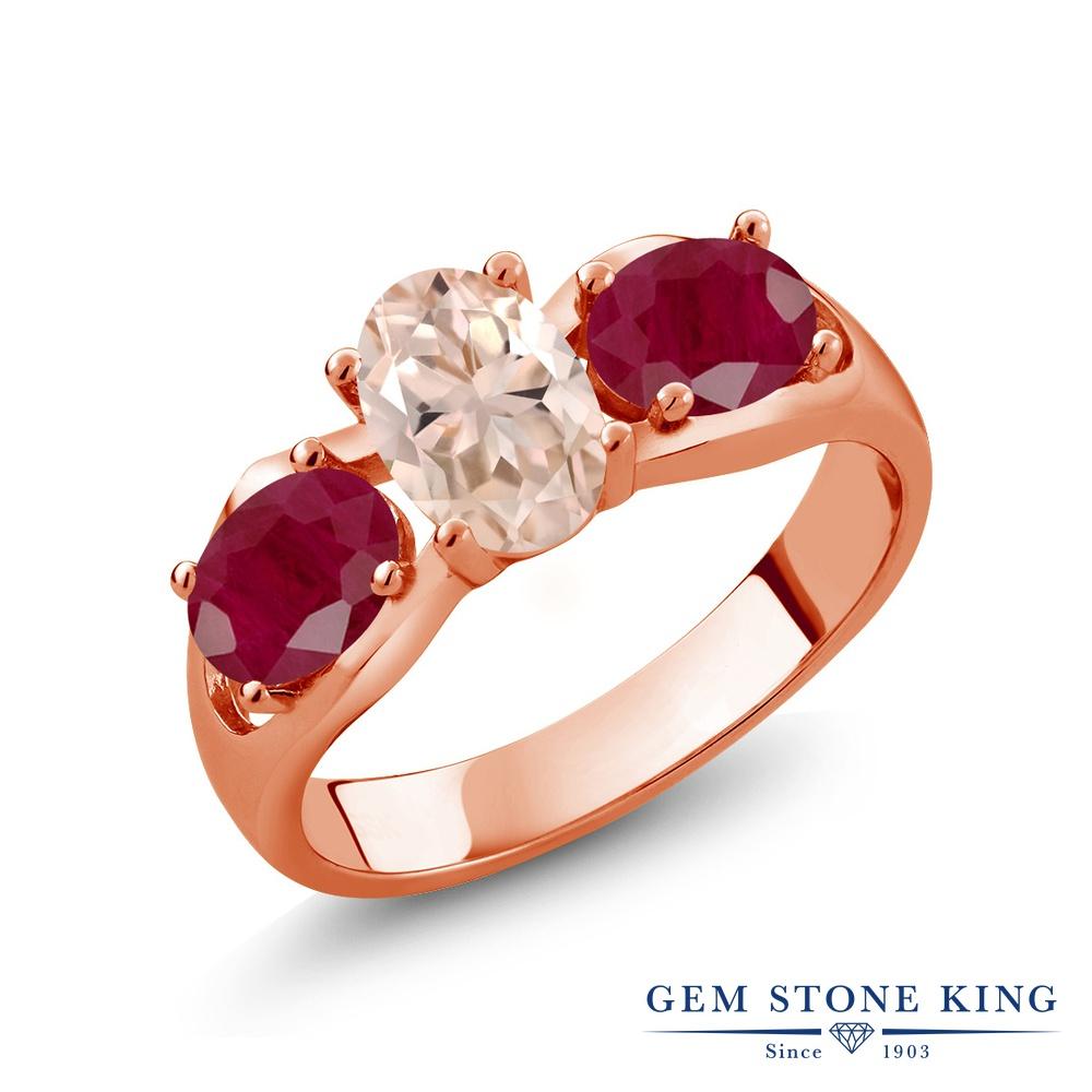 【10%OFF】 Gem Stone King 1.85カラット 天然 モルガナイト (ピーチ) ルビー 指輪 リング レディース シルバー925 ピンクゴールド 加工 スリーストーン シンプル 天然石 3月 誕生石 クリスマスプレゼント 女性 彼女 妻 誕生日