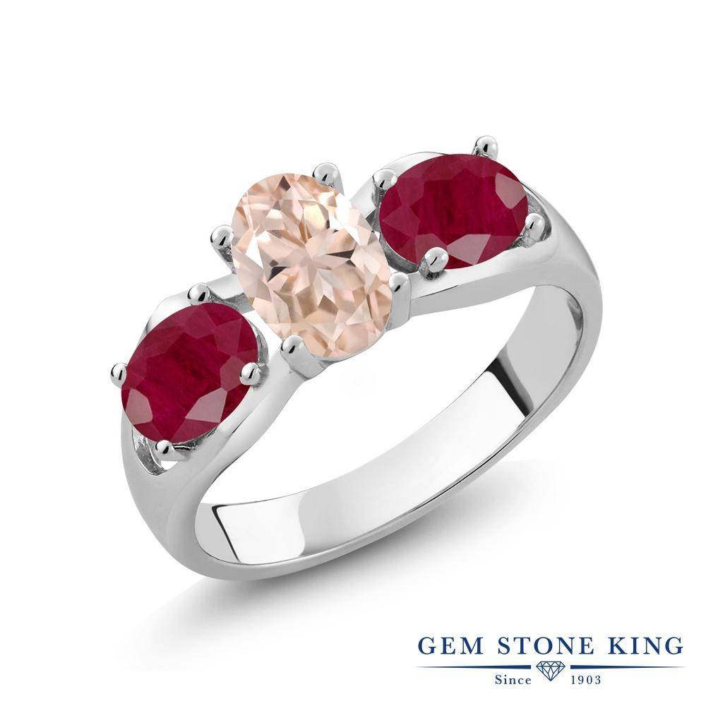 【10%OFF】 Gem Stone King 1.85カラット 天然 モルガナイト (ピーチ) ルビー 指輪 リング レディース シルバー925 スリーストーン シンプル 天然石 3月 誕生石 クリスマスプレゼント 女性 彼女 妻 誕生日