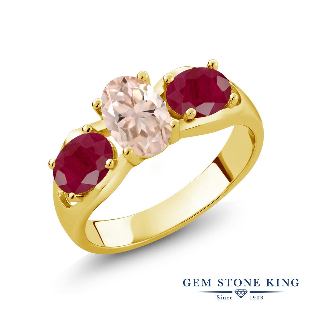 【10%OFF】 Gem Stone King 1.85カラット 天然 モルガナイト (ピーチ) ルビー 指輪 リング レディース シルバー925 イエローゴールド 加工 スリーストーン シンプル 天然石 3月 誕生石 クリスマスプレゼント 女性 彼女 妻 誕生日