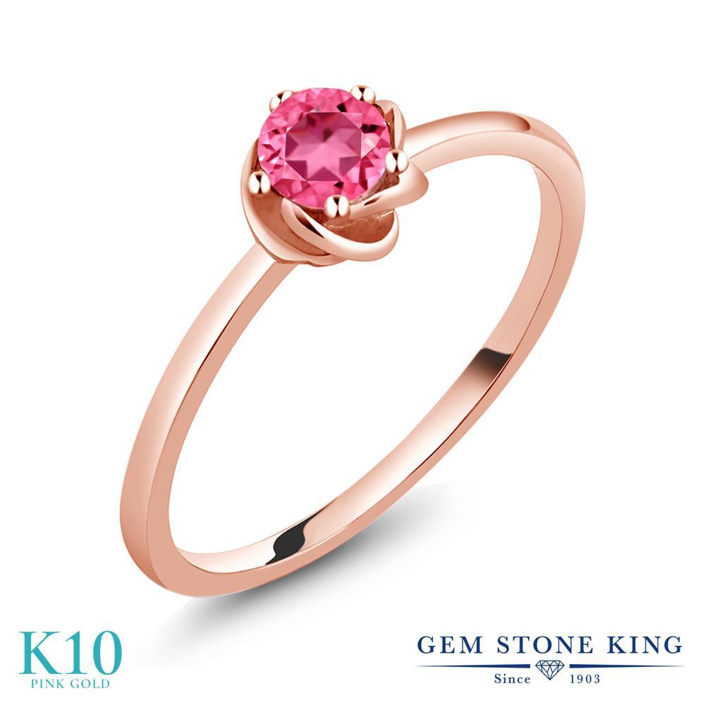 Gem Stone King 0.65カラット 天然石 ピンクトパーズ (スワロフスキー 天然石シリーズ) 10金 ピンクゴールド(K10) 指輪 リング レディース 一粒 シンプル ソリティア 天然石 金属アレルギー対応 誕生日プレゼント