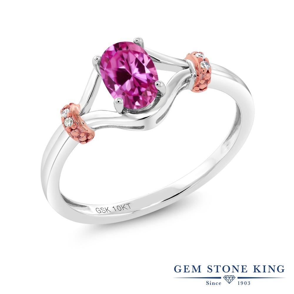 Gem Stone King 0.53カラット 合成ピンクサファイア 天然 ダイヤモンド 10金 Two Toneゴールド(K10) 指輪 リング レディース 小粒 ソリティア 金属アレルギー対応 婚約指輪 エンゲージリング
