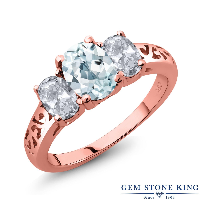 Gem Stone King 2.1カラット 天然 アクアマリン 天然 トパーズ (無色透明) シルバー925 ピンクゴールドコーティング 指輪 リング レディース 大粒 シンプル スリーストーン 天然石 3月 誕生石 金属アレルギー対応 誕生日プレゼント
