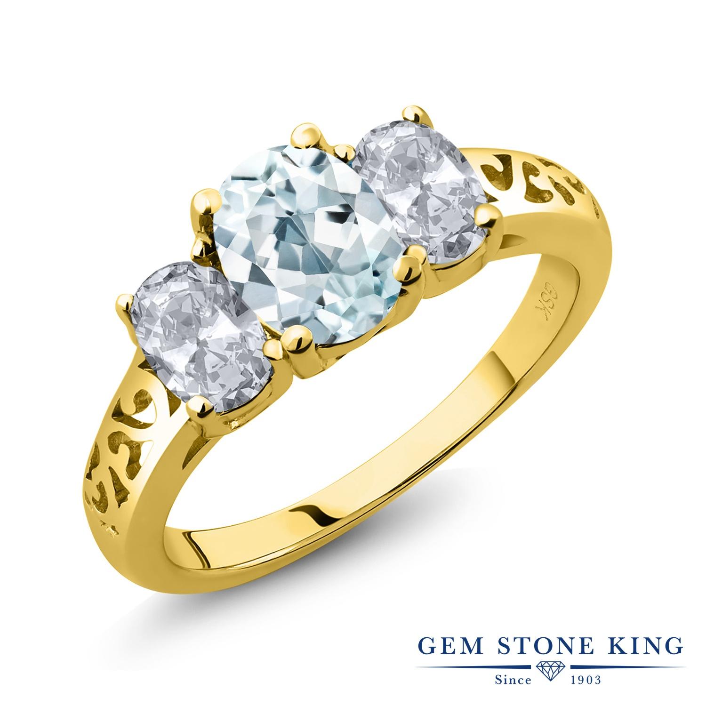Gem Stone King 2.1カラット 天然 アクアマリン 天然 トパーズ (無色透明) シルバー925 イエローゴールドコーティング 指輪 リング レディース 大粒 シンプル スリーストーン 天然石 3月 誕生石 金属アレルギー対応 誕生日プレゼント