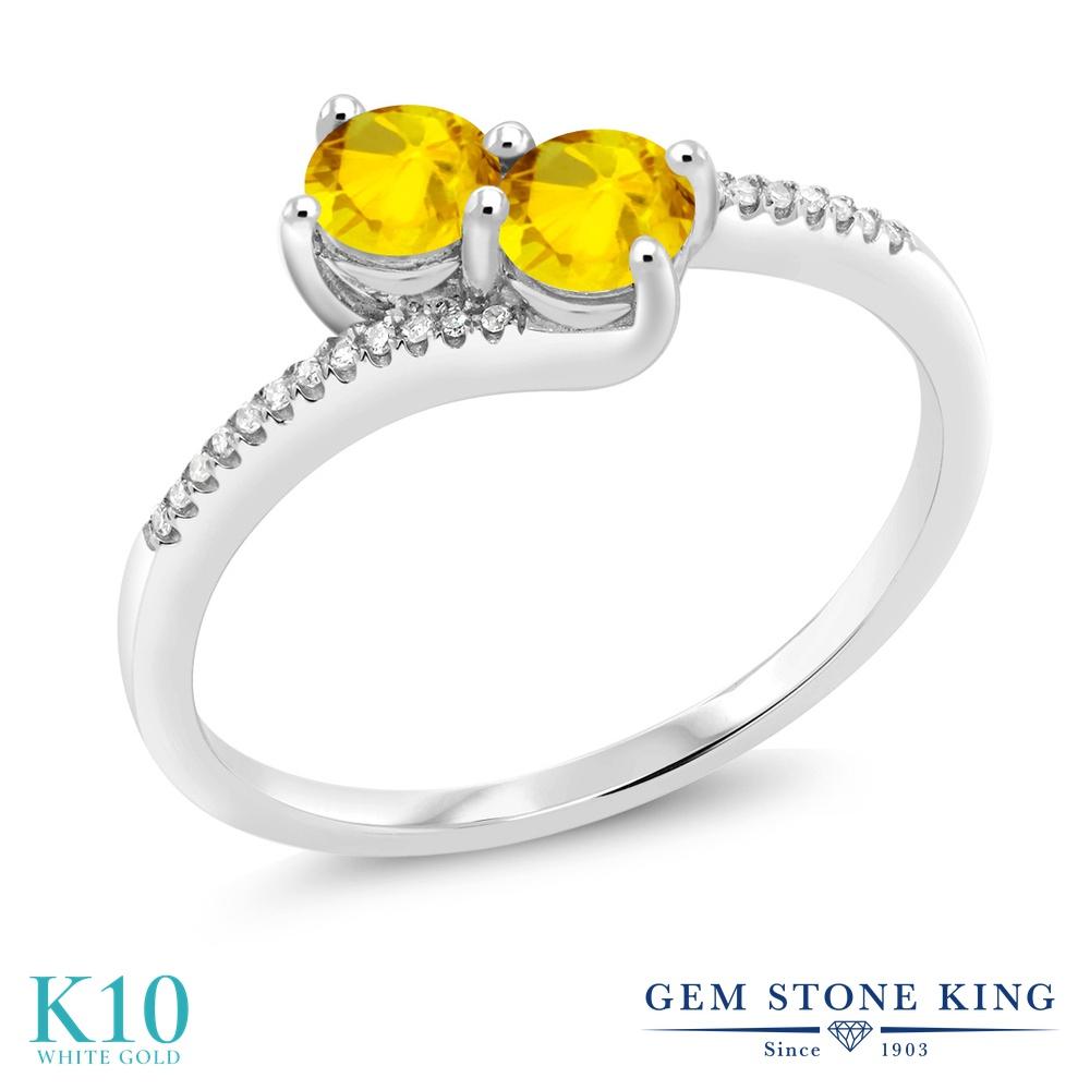 Gem Stone King 0.89カラット 天然 イエローサファイア 天然 ダイヤモンド 10金 ホワイトゴールド(K10) 指輪 リング レディース 小粒 ダブルストーン 天然石 9月 誕生石 金属アレルギー対応 誕生日プレゼント