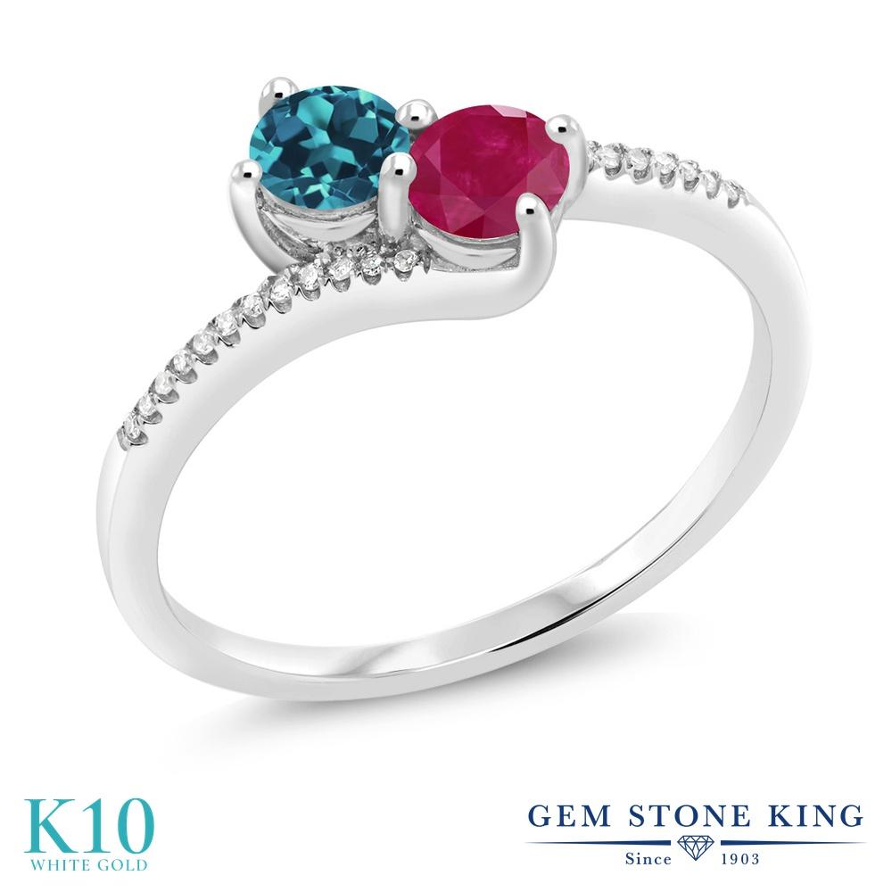 Gem Stone King 0.77カラット 天然 ロンドンブルートパーズ 天然 ルビー 天然 ダイヤモンド 10金 ホワイトゴールド(K10) 指輪 リング レディース 小粒 ダブルストーン 天然石 11月 誕生石 金属アレルギー対応 誕生日プレゼント