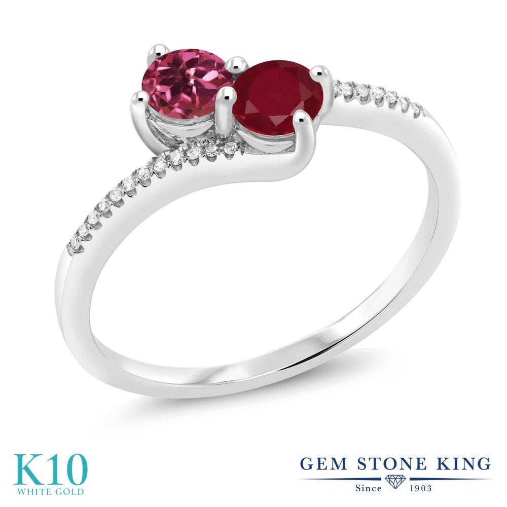 Gem Stone King 0.71カラット 天然 ピンクトルマリン 天然 ルビー 天然 ダイヤモンド 10金 ホワイトゴールド(K10) 指輪 リング レディース 小粒 ダブルストーン 天然石 10月 誕生石 金属アレルギー対応 誕生日プレゼント