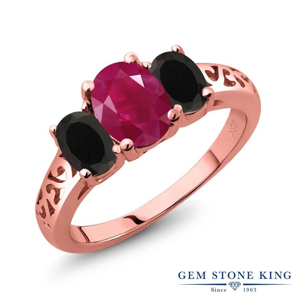 Gem Stone King 2.38カラット 天然 ルビー 天然 オニキス シルバー925 ピンクゴールドコーティング 指輪 リング レディース 大粒 シンプル スリーストーン 天然石 7月 誕生石 金属アレルギー対応 誕生日プレゼント