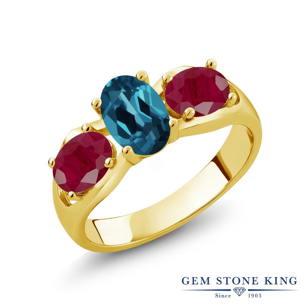 Gem Stone King 2.1カラット 天然 ロンドンブルートパーズ 天然 ルビー シルバー925 イエローゴールドコーティング 指輪 リング レディース シンプル スリーストーン 天然石 11月 誕生石 金属アレルギー対応 誕生日プレゼント