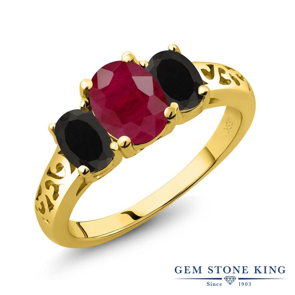 Gem Stone King 2.38カラット 天然 ルビー 天然 オニキス シルバー925 イエローゴールドコーティング 指輪 リング レディース 大粒 シンプル スリーストーン 天然石 7月 誕生石 金属アレルギー対応 誕生日プレゼント