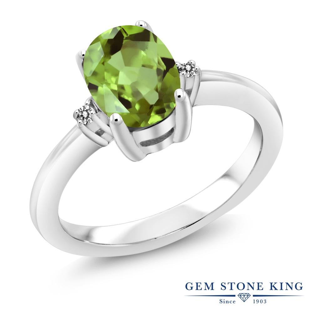 Gem Stone King 1.36カラット 天然石 ペリドット 天然 ダイヤモンド 指輪 リング レディース シルバー925 大粒 シンプル ソリティア 8月 誕生石 金属アレルギー対応