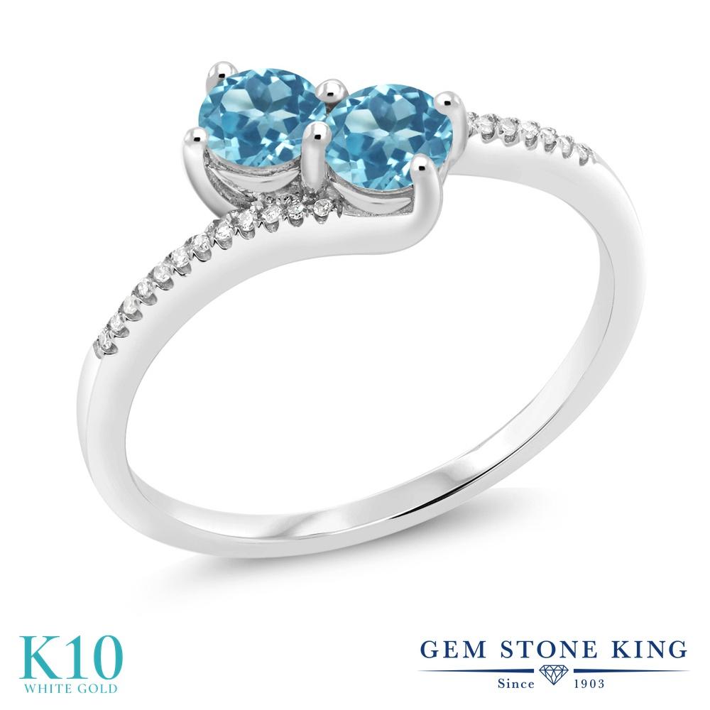Gem Stone King 0.83カラット 天然 スイスブルートパーズ 天然 ダイヤモンド 10金 ホワイトゴールド(K10) 指輪 リング レディース 小粒 ダブルストーン 天然石 11月 誕生石 金属アレルギー対応 誕生日プレゼント
