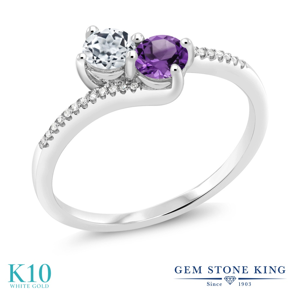 Gem Stone King 0.74カラット 天然 トパーズ (無色透明) 天然 アメジスト 天然 ダイヤモンド 10金 ホワイトゴールド(K10) 指輪 リング レディース 小粒 ダブルストーン 天然石 11月 誕生石 金属アレルギー対応 誕生日プレゼント