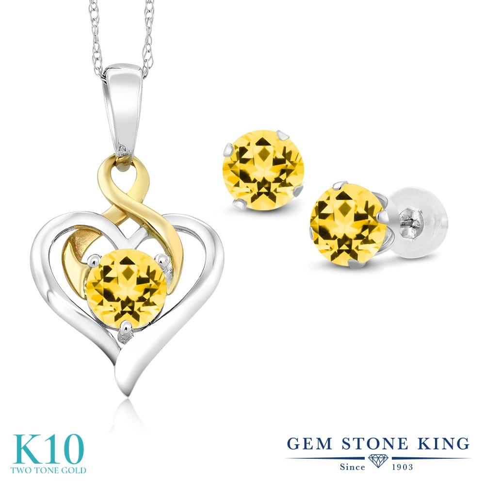 Gem Stone King 2.65カラット 天然石 トパーズ ハニースワロフスキー 10金 Two Toneゴールド(K10) ペンダント&ピアスセット レディース シンプル 天然石 金属アレルギー対応 誕生日プレゼント