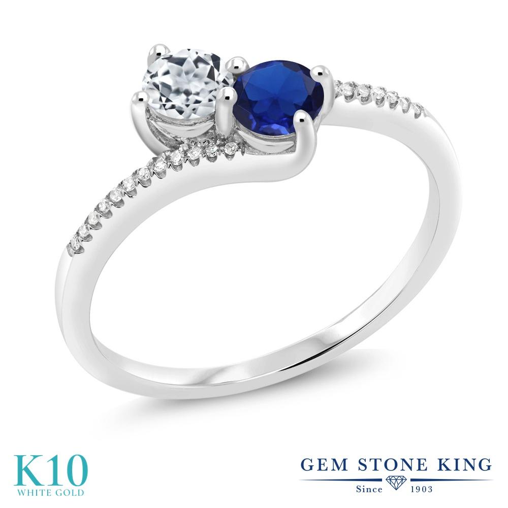 Gem Stone King 0.75カラット 天然 トパーズ (無色透明) シミュレイテッド サファイア 天然 ダイヤモンド 10金 ホワイトゴールド(K10) 指輪 リング レディース 小粒 ダブルストーン 天然石 11月 誕生石 金属アレルギー対応 誕生日プレゼント