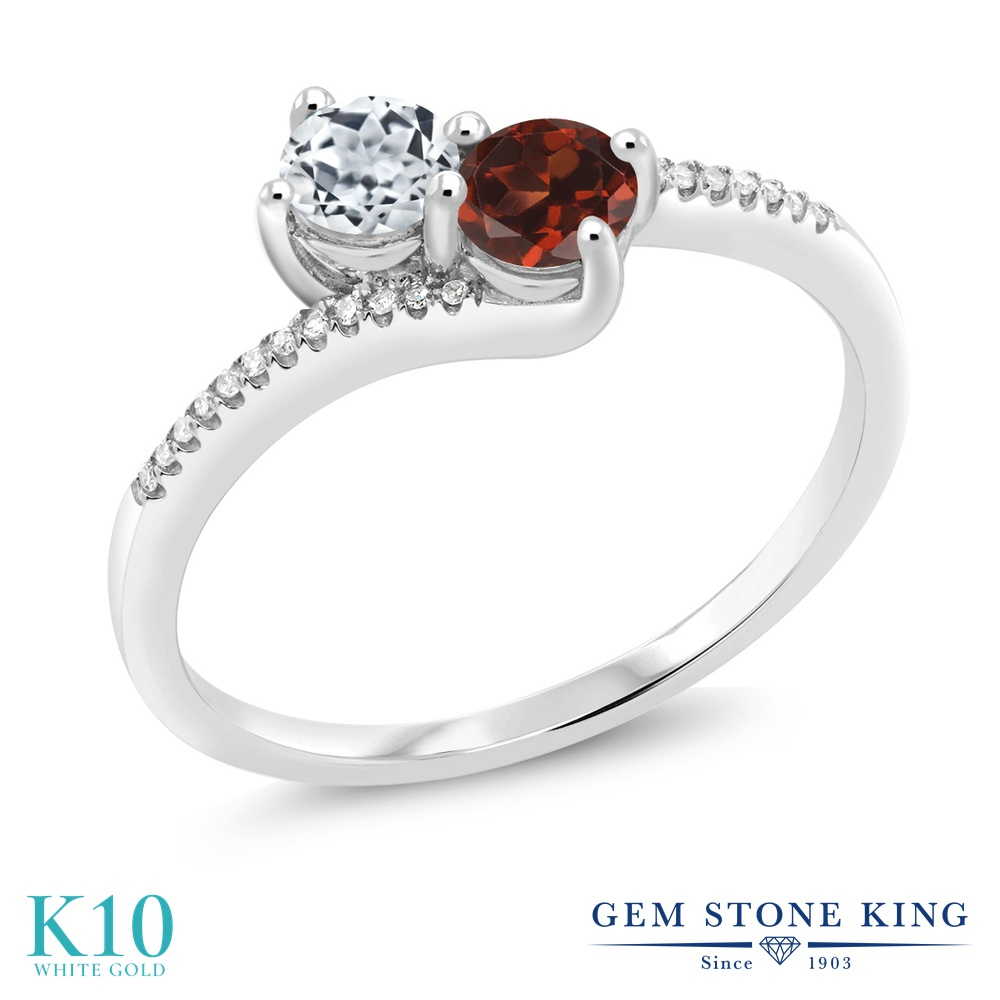 Gem Stone King 0.87カラット 天然 トパーズ (無色透明) 天然 ガーネット 天然 ダイヤモンド 10金 ホワイトゴールド(K10) 指輪 リング レディース 小粒 ダブルストーン 天然石 11月 誕生石 金属アレルギー対応 誕生日プレゼント