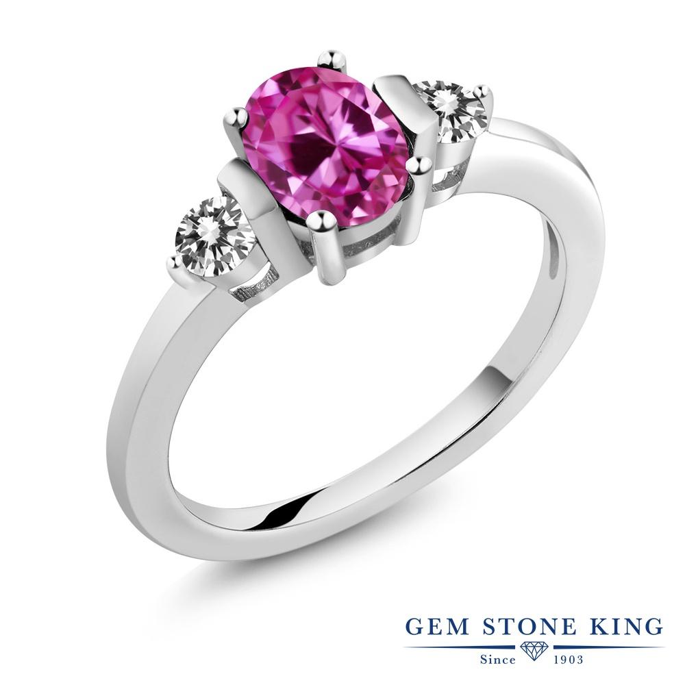 Gem Stone King 1.1カラット 合成ピンクサファイア 天然 ダイヤモンド シルバー925 指輪 リング レディース シンプル スリーストーン 金属アレルギー対応 誕生日プレゼント