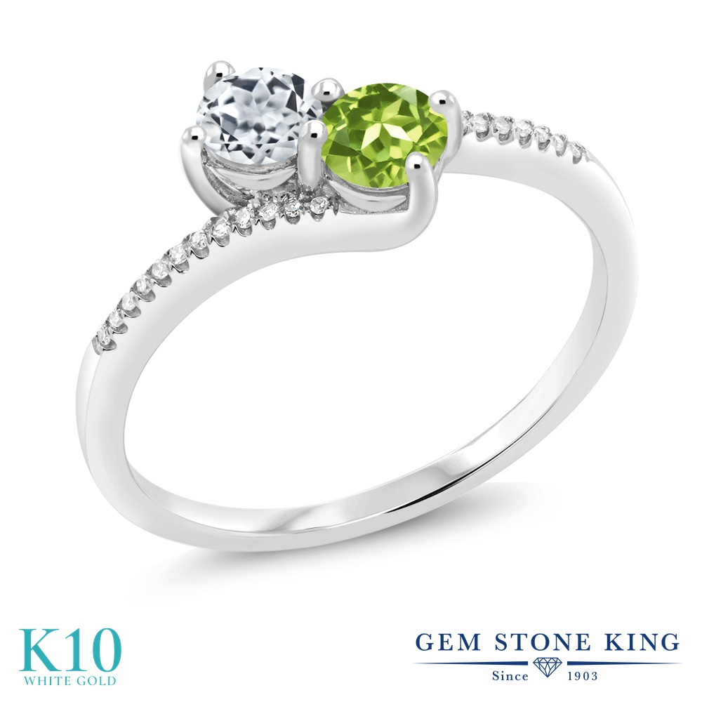 Gem Stone King 0.8カラット 天然 トパーズ (無色透明) 天然石 ペリドット 天然 ダイヤモンド 10金 ホワイトゴールド(K10) 指輪 リング レディース 小粒 ダブルストーン 天然石 11月 誕生石 金属アレルギー対応 誕生日プレゼント
