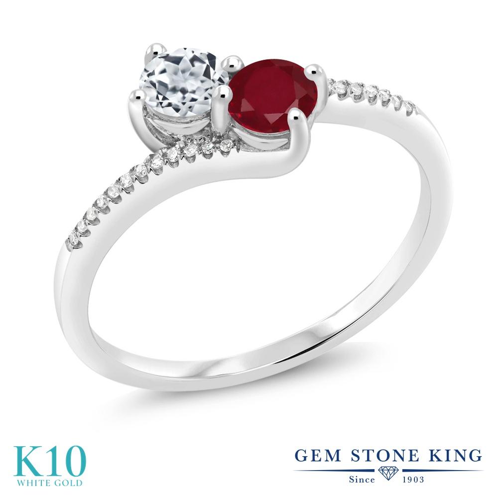 Gem Stone King 0.8カラット 天然 トパーズ (無色透明) 天然 ルビー 天然 ダイヤモンド 10金 ホワイトゴールド(K10) 指輪 リング レディース 小粒 ダブルストーン 天然石 11月 誕生石 金属アレルギー対応 誕生日プレゼント