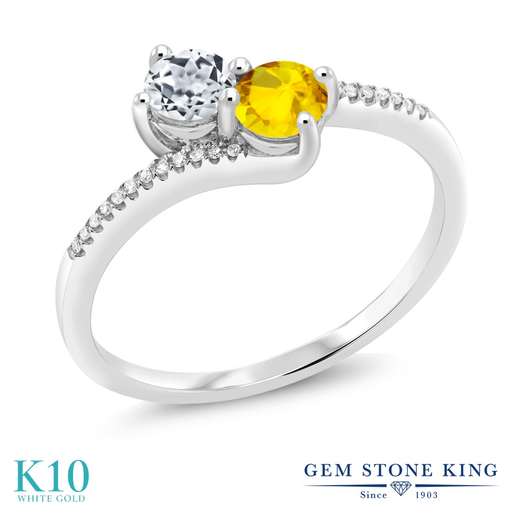 Gem Stone King 0.86カラット 天然 トパーズ (無色透明) 天然 イエローサファイア 天然 ダイヤモンド 10金 ホワイトゴールド(K10) 指輪 リング レディース 小粒 ダブルストーン 天然石 11月 誕生石 金属アレルギー対応 誕生日プレゼント
