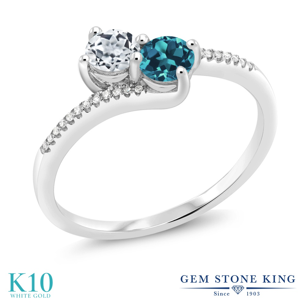 Gem Stone King 0.8カラット 天然 トパーズ (無色透明) 天然 ロンドンブルートパーズ 天然 ダイヤモンド 10金 ホワイトゴールド(K10) 指輪 リング レディース 小粒 ダブルストーン 天然石 11月 誕生石 金属アレルギー対応 誕生日プレゼント