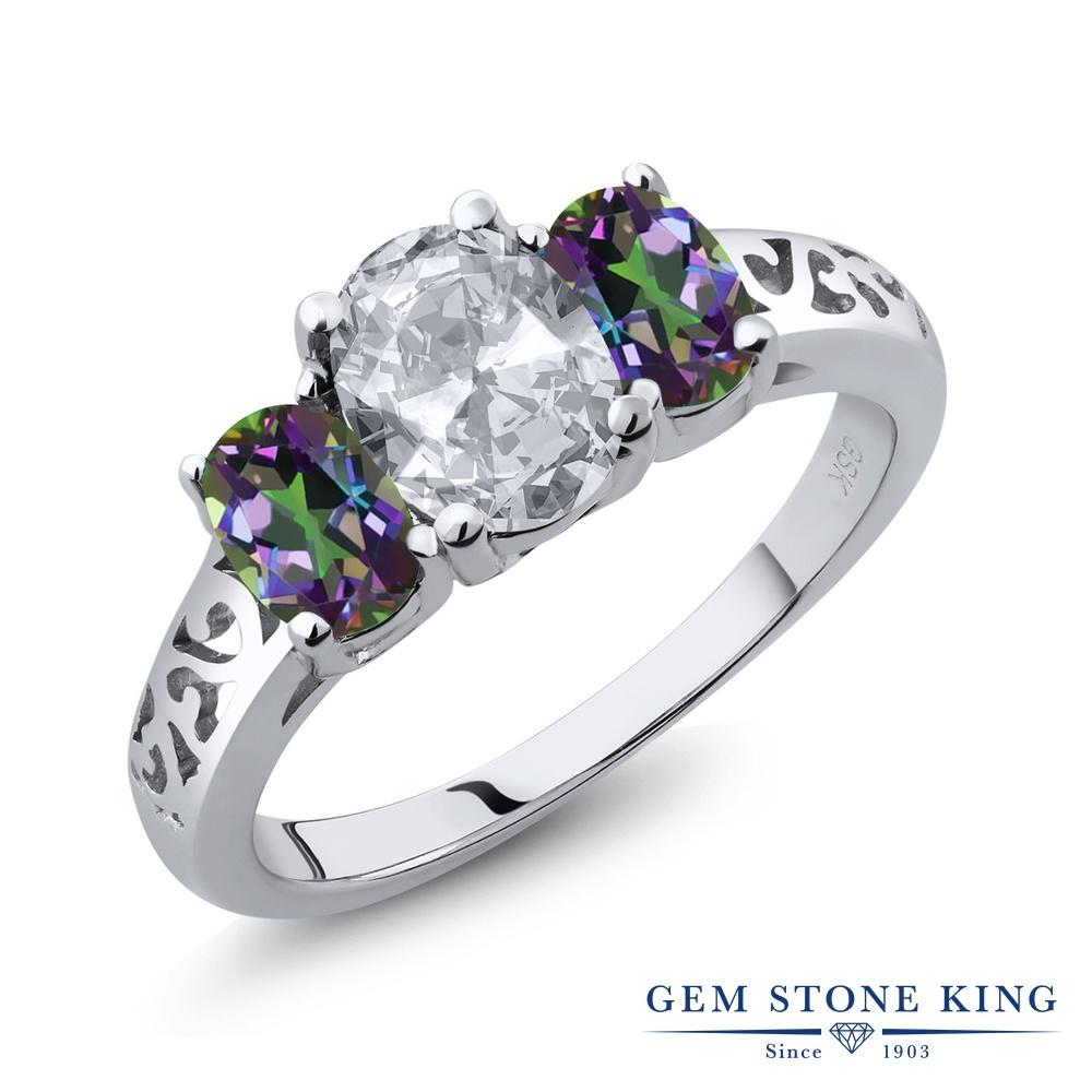 Gem Stone King 2.3カラット 天然 トパーズ 天然石 ミスティックトパーズ (グリーン) 指輪 リング レディース シルバー925 大粒 シンプル スリーストーン 11月 誕生石 金属アレルギー対応