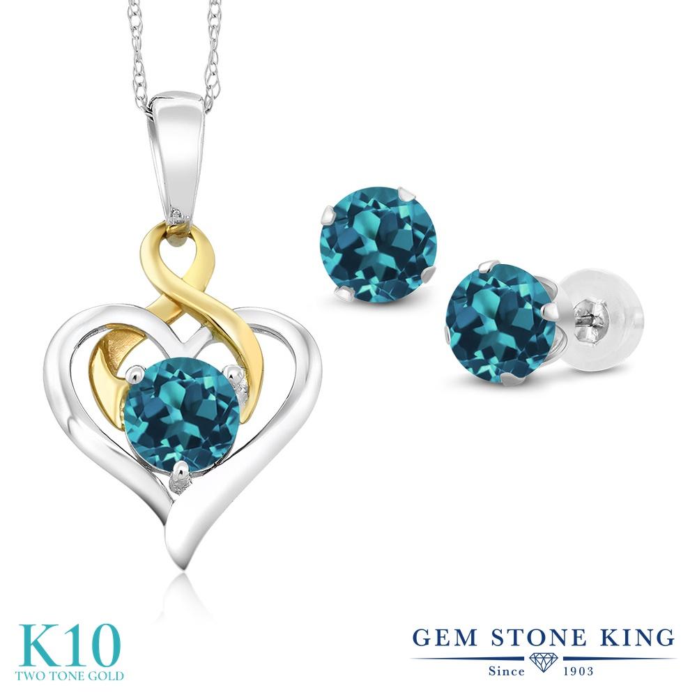 Gem Stone King 2カラット 天然 ロンドンブルートパーズ 10金 Two Toneゴールド(K10) ペンダント&ピアスセット レディース 小粒 シンプル 天然石 11月 誕生石 金属アレルギー対応 誕生日プレゼント