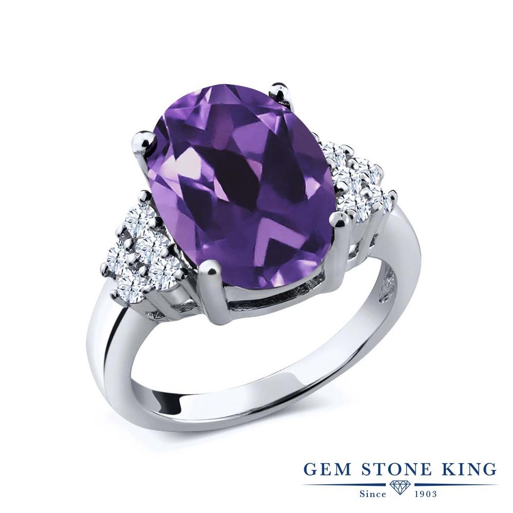 Gem Stone King 4.8カラット 天然 アメジスト シルバー925 指輪 リング レディース 大粒 マルチストーン 天然石 2月 誕生石 金属アレルギー対応 誕生日プレゼント