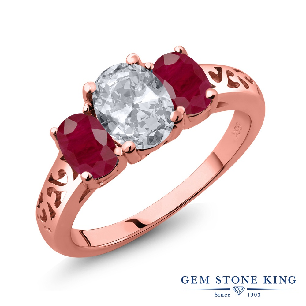 【10%OFF】 Gem Stone King 2.5カラット 天然 トパーズ ルビー 指輪 リング レディース シルバー925 ピンクゴールド 加工 大粒 シンプル スリーストーン 天然石 11月 誕生石 クリスマスプレゼント 女性 彼女 妻 誕生日