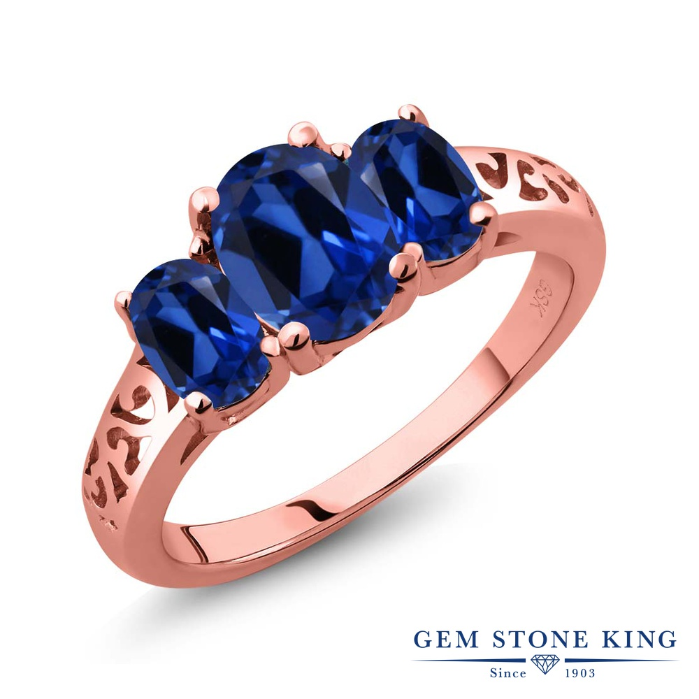 Gem Stone King 2.6カラット シミュレイテッド サファイア 指輪 リング レディース シルバー925 ピンクゴールド 加工 大粒 シンプル スリーストーン 金属アレルギー対応