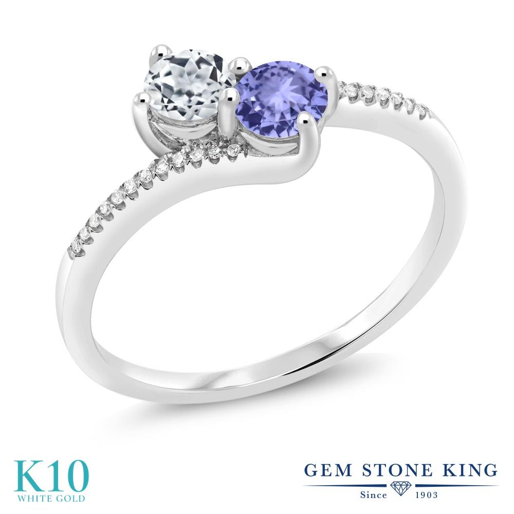 Gem Stone King 0.8カラット 天然 トパーズ (無色透明) 天然石 タンザナイト 天然 ダイヤモンド 10金 ホワイトゴールド(K10) 指輪 リング レディース 小粒 ダブルストーン 天然石 11月 誕生石 金属アレルギー対応 誕生日プレゼント