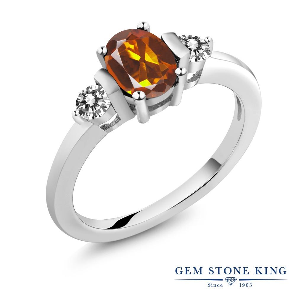 Gem Stone King 0.9カラット 天然 マデイラシトリン (オレンジレッド) 天然 ダイヤモンド シルバー925 指輪 リング レディース シンプル スリーストーン 天然石 金属アレルギー対応 誕生日プレゼント