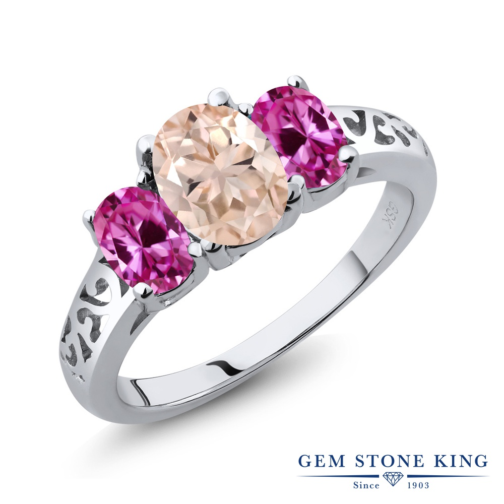 Gem Stone King 2カラット 天然 モルガナイト (ピーチ) 合成ピンクサファイア シルバー925 指輪 リング レディース 大粒 シンプル スリーストーン 天然石 3月 誕生石 金属アレルギー対応 誕生日プレゼント
