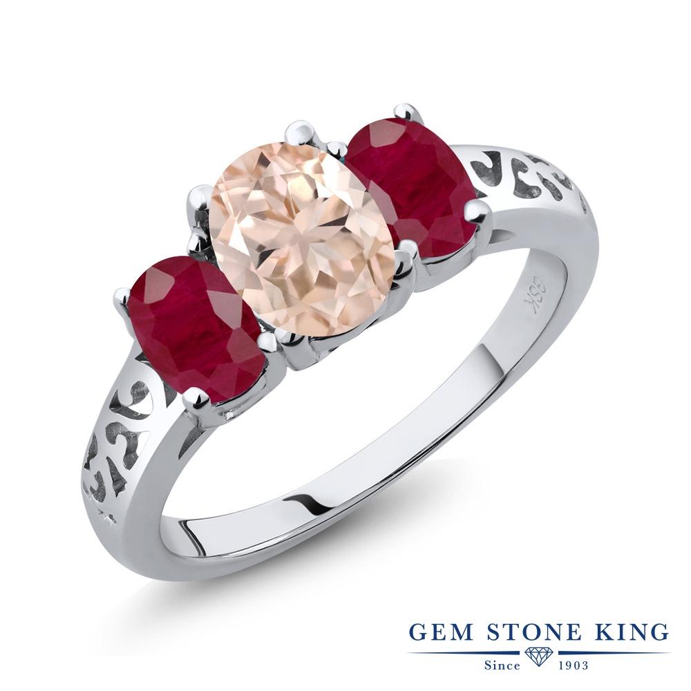 Gem Stone King 2.2カラット 天然 モルガナイト (ピーチ) 天然 ルビー シルバー925 指輪 リング レディース 大粒 シンプル スリーストーン 天然石 3月 誕生石 金属アレルギー対応 誕生日プレゼント