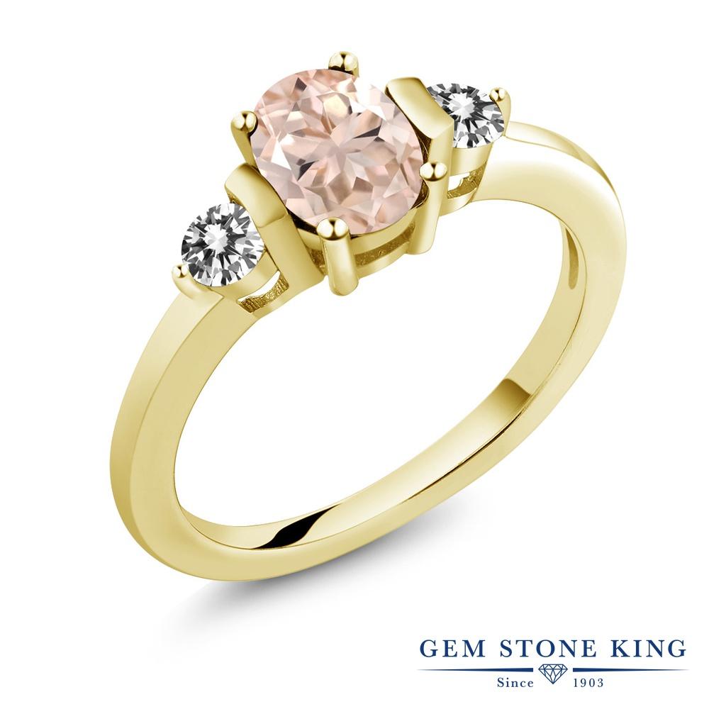 0.85カラット 天然 モルガナイト (ピーチ) 指輪 レディース リング ダイヤモンド イエローゴールド 加工 シルバー925 ブランド おしゃれ 3連 シンプル スリーストーン 天然石 3月 誕生石 プレゼント 女性 彼女 妻 誕生日