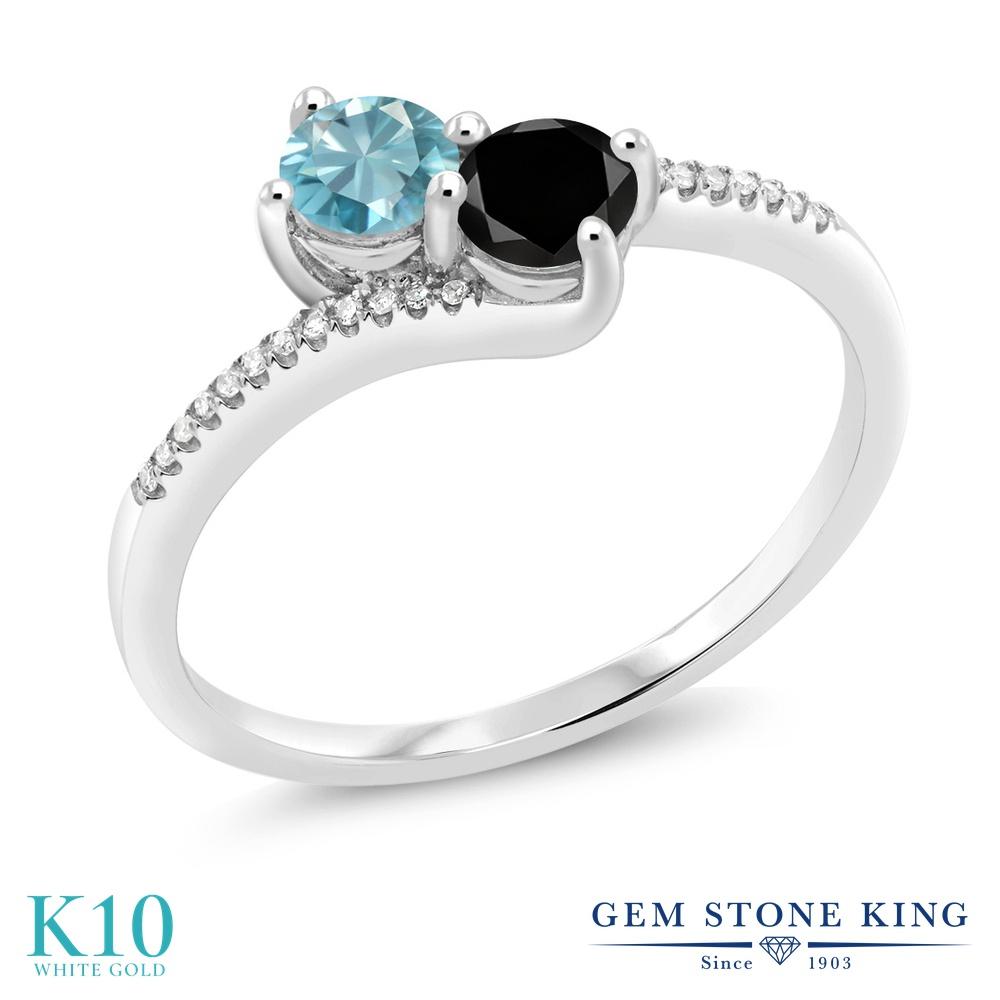 Gem Stone King 0.94カラット 天然石 ブルージルコン 天然ブラックダイヤモンド 10金 ホワイトゴールド(K10) 指輪 リング レディース 小粒 ダブルストーン 天然石 12月 誕生石 金属アレルギー対応 誕生日プレゼント