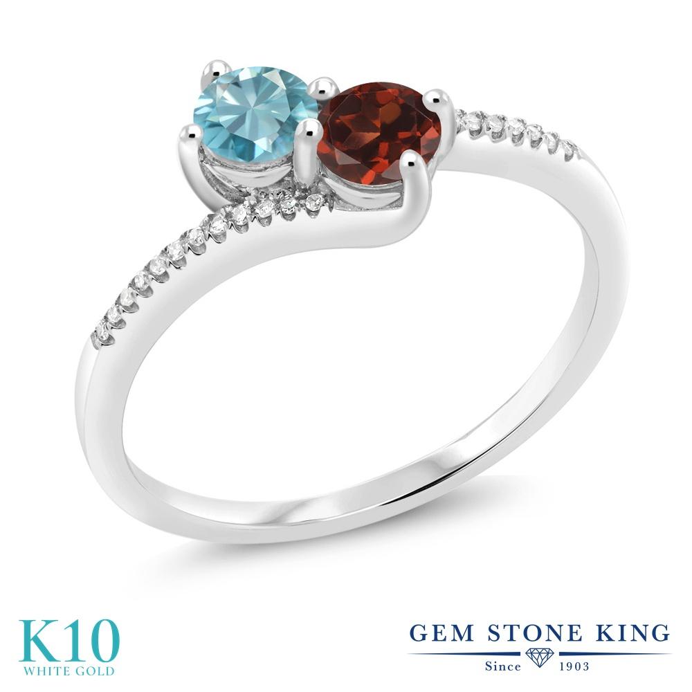 Gem Stone King 1.04カラット 天然石 ブルージルコン 天然 ガーネット 天然 ダイヤモンド 10金 ホワイトゴールド(K10) 指輪 リング レディース 小粒 ダブルストーン 天然石 12月 誕生石 金属アレルギー対応 誕生日プレゼント