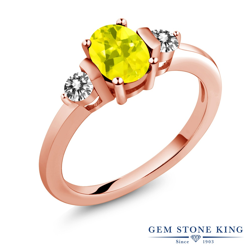 1カラット 天然石 ミスティックトパーズ (イエロー) 指輪 レディース リング 天然 ダイヤモンド ピンクゴールド 加工 シルバー925 ブランド おしゃれ 3連 シンプル スリーストーン プレゼント 女性 彼女 妻 誕生日
