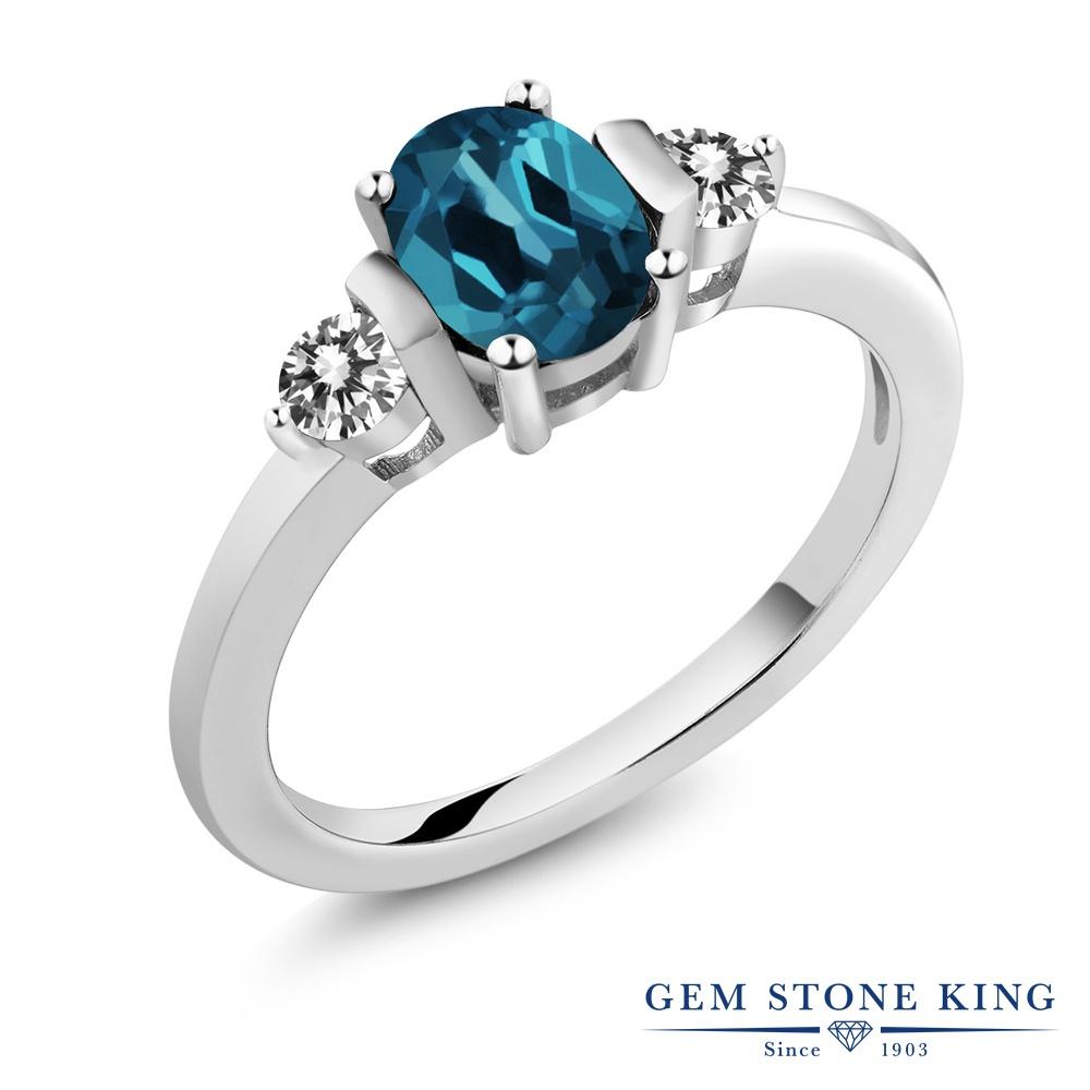 Gem Stone King 1.1カラット 天然 ロンドンブルートパーズ 天然 ダイヤモンド シルバー925 指輪 リング レディース シンプル スリーストーン 天然石 11月 誕生石 金属アレルギー対応 誕生日プレゼント