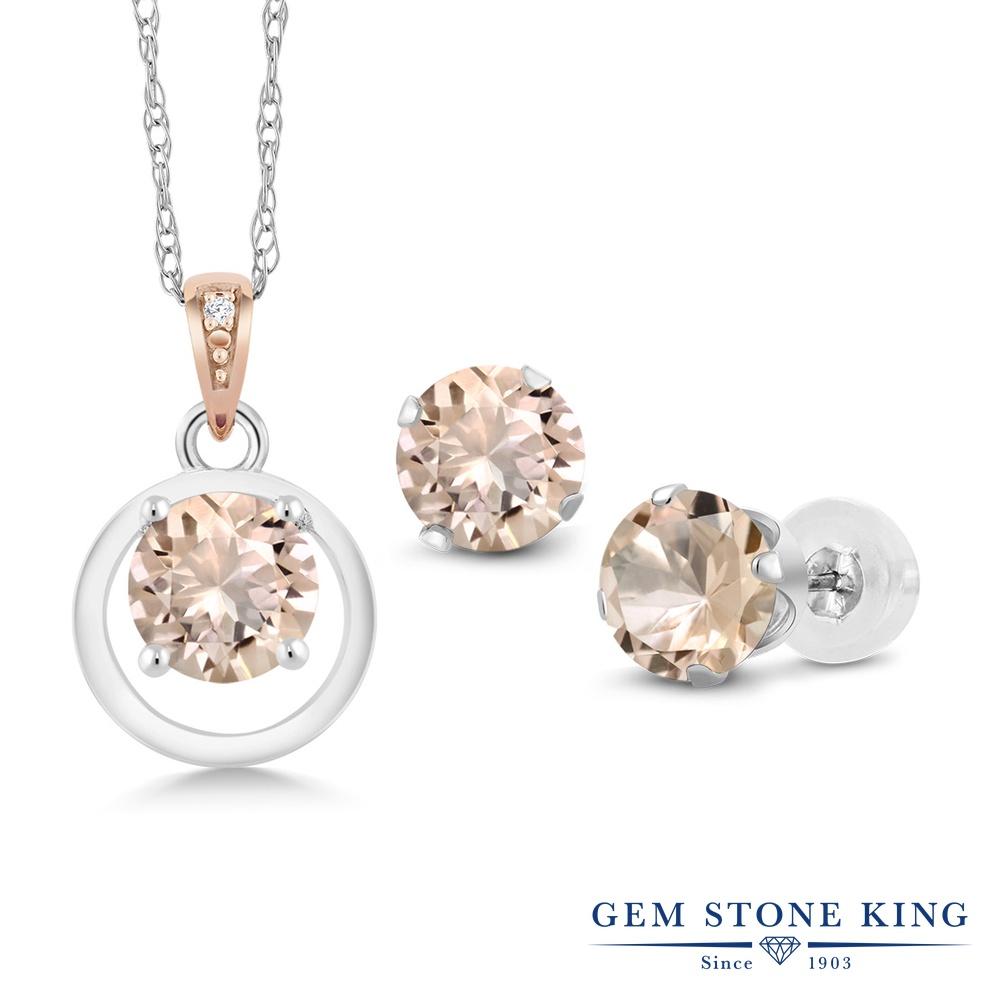 Gem Stone King 1.81カラット 天然 モルガナイト (ピーチ) 天然 ダイヤモンド シルバー925 &10金 ピンクゴールド (K10) ペンダント&ピアスセット レディース 天然石 3月 誕生石 金属アレルギー対応 誕生日プレゼント