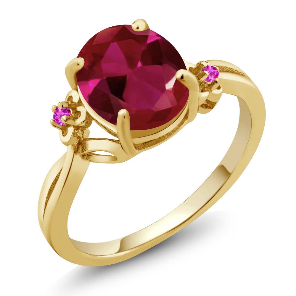 2.54カラット 合成ルビー サファイア(ピンク) シルバー 925 イエローゴールドコーティング 指輪 レディース リング 大粒 シンプル ソリティア 金属アレルギー対応 誕生日プレゼント