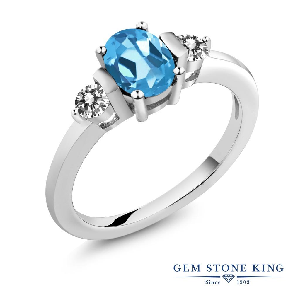 Gem Stone King 1.05カラット 天然 スイスブルートパーズ 天然 ダイヤモンド シルバー925 指輪 リング レディース シンプル スリーストーン 天然石 11月 誕生石 金属アレルギー対応 誕生日プレゼント